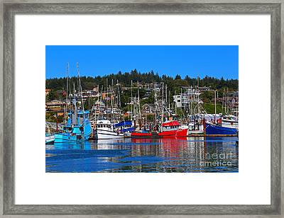 Fishing Fleet At Newport Harbor Framed Print by Marty Fancy