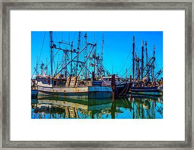 Fishing Fleet In Harbor Framed Print by Garry Gay