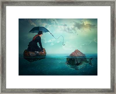 Fishing-for A Woman ..! Framed Print