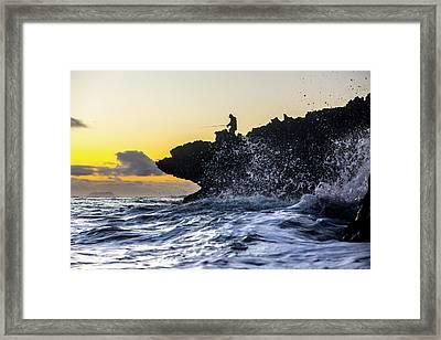 Fishing For Foam Framed Print by Sean Davey