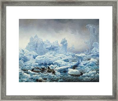 Fishing For Walrus In The Arctic Ocean Framed Print by Francois Auguste Biard