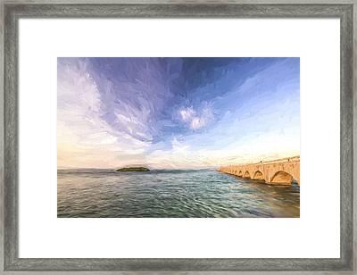 Fishing From The Bridge II Framed Print by Jon Glaser
