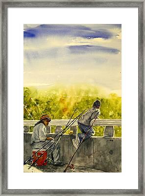 Fishing From The Bridge Framed Print