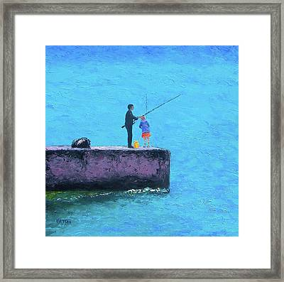 Fishing From The Pier Framed Print
