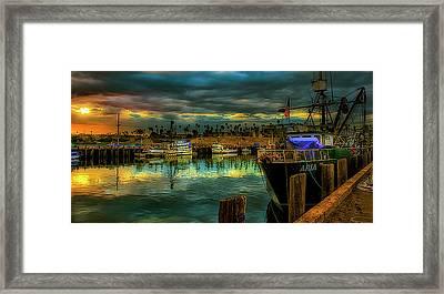 Fishing Harbor At Sunset Framed Print