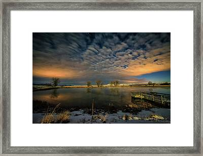Fishing Hole At Night Framed Print by Fiskr Larsen