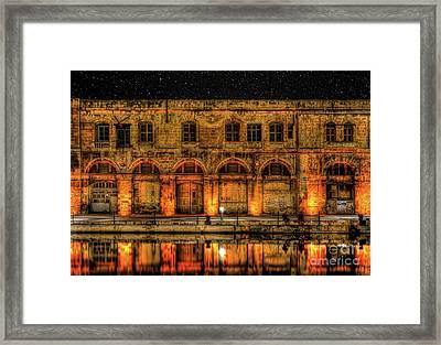 Fishing In Birgu By Old Buildings Framed Print by Stephan Grixti