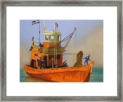 Fishing In Orange Framed Print