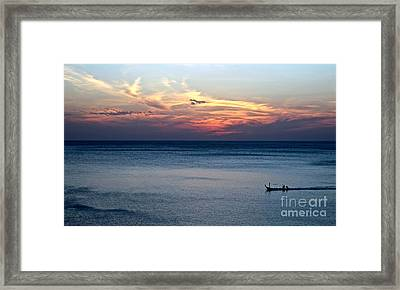 Fishing In Peace Framed Print by Caroline Benson