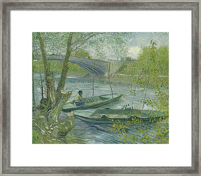 Fishing In Spring, The Pont De Clichy Framed Print by Vincent Van Gogh