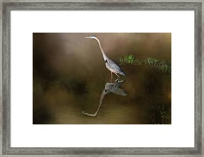 Framed Print featuring the photograph Fishing In The Fog by Donna Kennedy