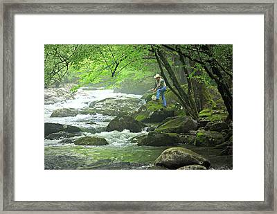 Fishing In The Smokies Framed Print by Marty Koch