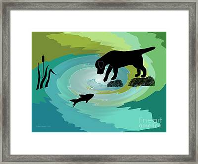 Fishing Labrador Dog Framed Print