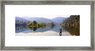 Fishing, Lewiston Lake, California, Usa Framed Print by Panoramic Images