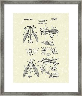 Fishing Lure 1926 Patent Art  Framed Print by Prior Art Design