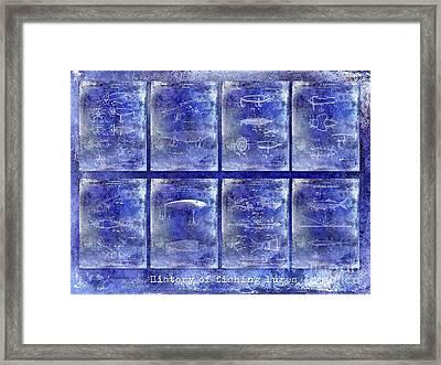 Fishing Lure Patent History Blue Framed Print by Jon Neidert