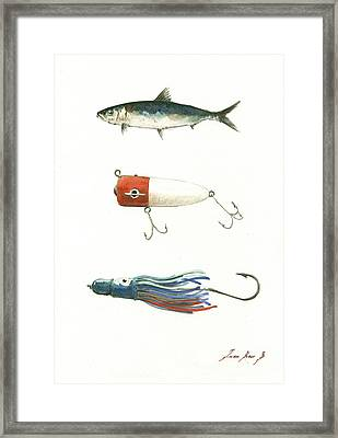 Fishing Lures Framed Print by Juan Bosco