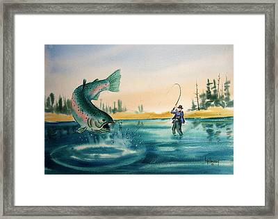 Fishing Montana Framed Print by Kevin Heaney