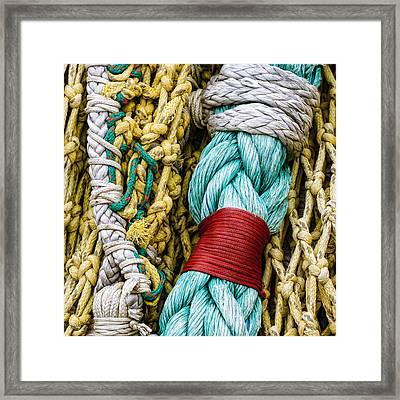 Fishing Net Detail Framed Print by Carol Leigh