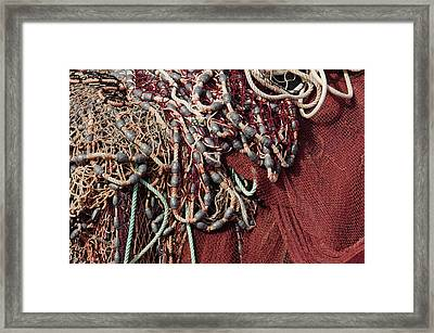 Fishing Nets And Led Weights Framed Print by Carlos Caetano