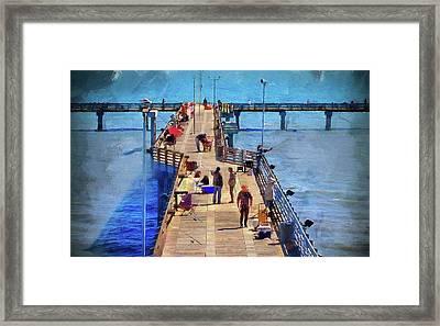 Fishing Off Galvaston Pier Framed Print
