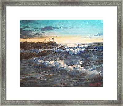 Fishing Off Point Judith R.i. Framed Print