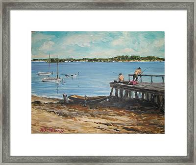 Fishing Off The Docks At Point Judith R.i. Framed Print