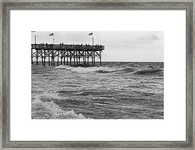 Framed Print featuring the photograph Fishing Off The Pier At Myrtle Beach by Chris Flees
