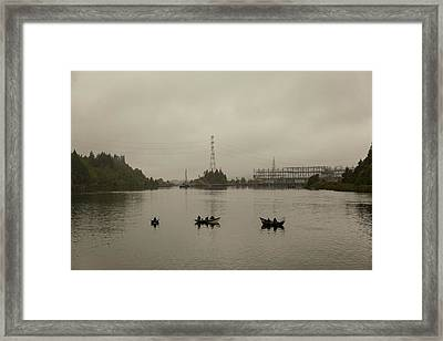 Fishing On Foggy Columbia River Framed Print