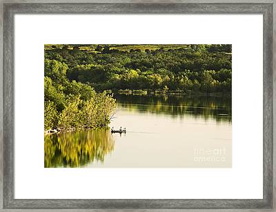 Framed Print featuring the photograph Fishing On Mountain Lake by Tamyra Ayles