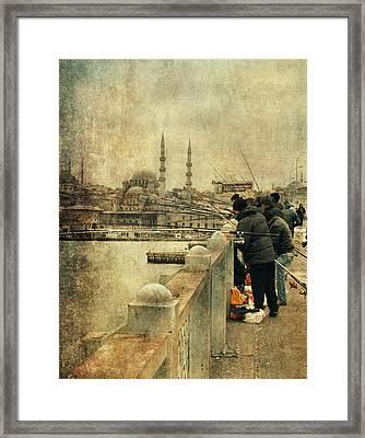 Fishing On The Bosphorus Framed Print by Vittorio Chiampan