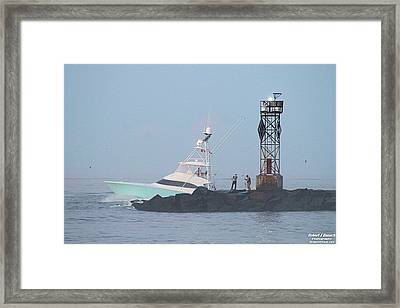Framed Print featuring the photograph Fishing On The Inlet Jetty by Robert Banach