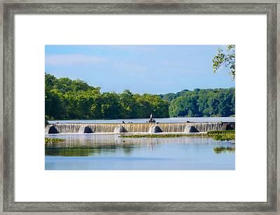 Fishing On The Millstone River - Kingston New Jersey Framed Print