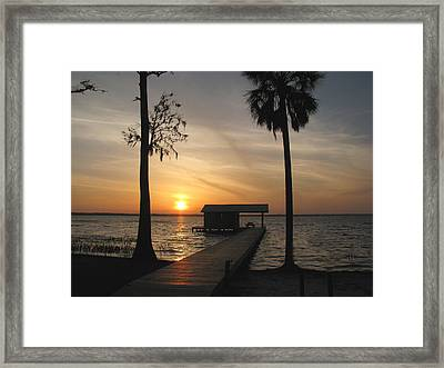 Framed Print featuring the photograph Fishing Pier At Dusk by Peg Urban