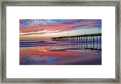 Fishing Pier Sunrise Framed Print by Suzanne Stout