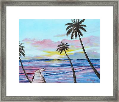 Fishing Pier Sunset Framed Print