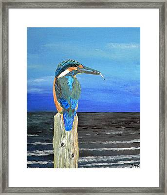 Framed Print featuring the painting Fishing Post Kingfisher Of Eftalou. by Eric Kempson