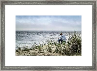 Fishing Quietly Framed Print by Robert Anastasi
