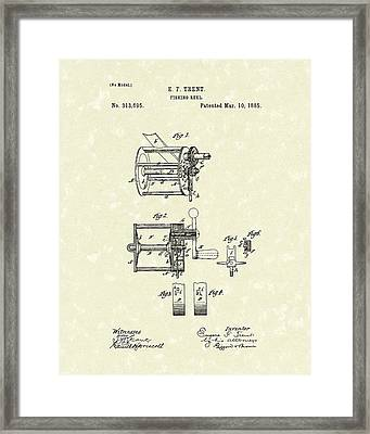 Fishing Reel 1885 Patent Art Framed Print by Prior Art Design