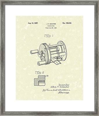 Fishing Reel 1937 Patent Art Framed Print by Prior Art Design