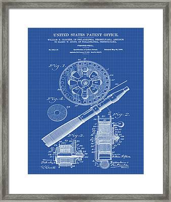 Fishing Reel Patent 1906 Blueprint Framed Print by Bill Cannon