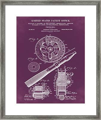 Fishing Reel Patent 1906 Red Framed Print by Bill Cannon