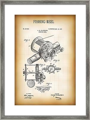 Fishing Reel Patent  1907 Framed Print by Daniel Hagerman