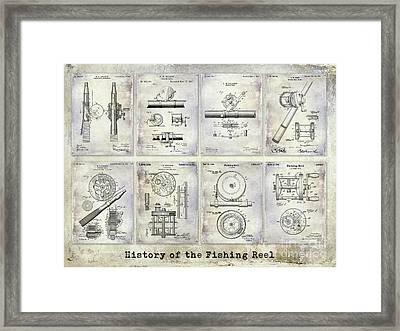 Fishing Reel Patent History Framed Print by Jon Neidert