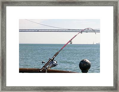 Fishing Rod On The Pier In San Francisco Bay Framed Print