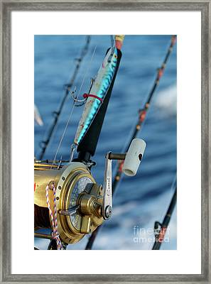 Fishing Rods Onboard A Boat In The Mediterranean Sea Framed Print by Sami Sarkis
