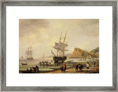 Fishing Scene, Teignmouth Beach And The Ness, 1831 Framed Print by Thomas Luny
