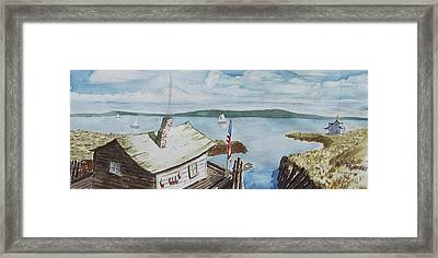 Fishing Shack With Old Glory Framed Print by Robert Thomaston