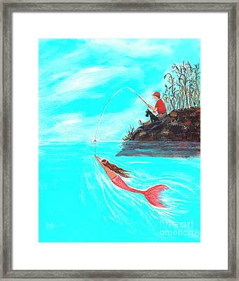 Framed Print featuring the painting Fishing Surprise by Leslie Allen