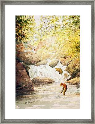 Fishing The Falls Framed Print